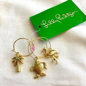 LILLY PULITZER tropical wine beverage charms NWT